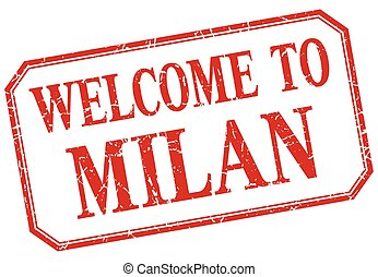 Milan - welcome red vintage isolated label