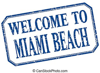 Miami Beach - welcome blue vintage isolated label