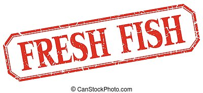 fresh fish square red grunge vintage isolated label