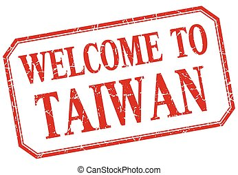 Taiwan - welcome red vintage isolated label