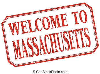 Massachusetts - welcome red vintage isolated label