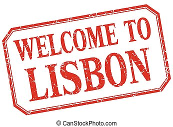 Lisbon - welcome red vintage isolated label