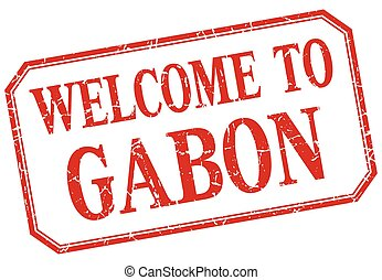 Gabon - welcome red vintage isolated label