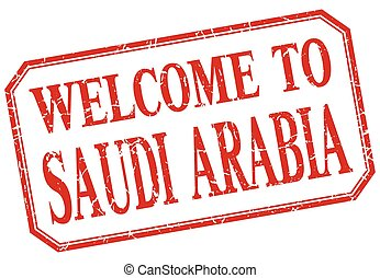 Saudi Arabia - welcome red vintage isolated label