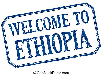 Ethiopia - welcome blue vintage isolated label