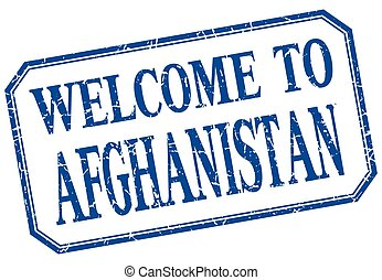 Afghanistan - welcome blue vintage isolated label