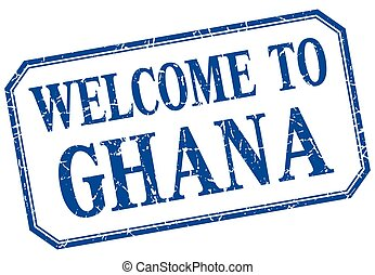 Ghana - welcome blue vintage isolated label