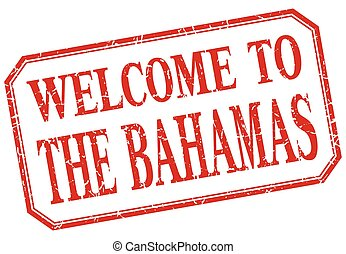 The Bahamas - welcome red vintage isolated label