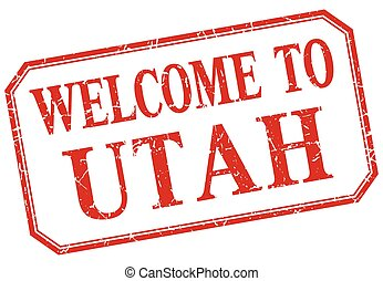 Utah - welcome red vintage isolated label
