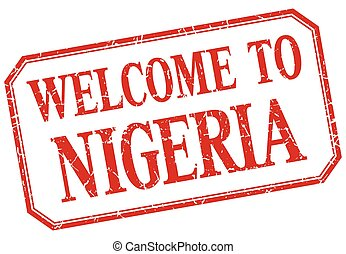 Nigeria - welcome red vintage isolated label