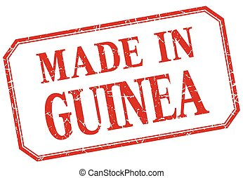 Guinea - made in red vintage isolated label