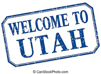 Utah - welcome blue vintage isolated label
