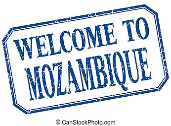 Mozambique - welcome blue vintage isolated label