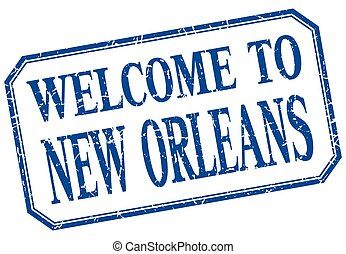 New Orleans - welcome blue vintage isolated label