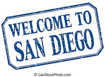 San Diego - welcome blue vintage isolated label