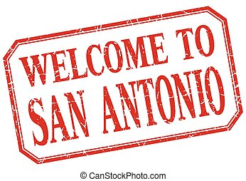 San Antonio - welcome red vintage isolated label