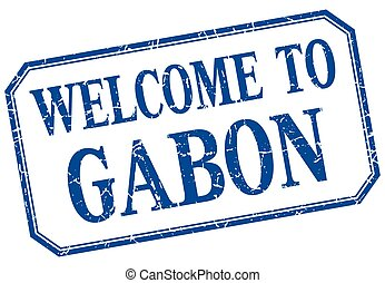 Gabon - welcome blue vintage isolated label
