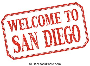 San Diego - welcome red vintage isolated label