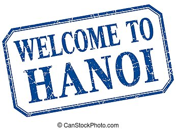 Hanoi - welcome blue vintage isolated label