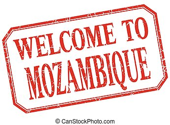 Mozambique - welcome red vintage isolated label