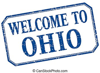 Ohio - welcome blue vintage isolated label