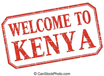 Kenya - welcome red vintage isolated label