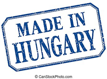 Hungary - made in blue vintage isolated label
