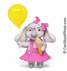 Baby elephant holding icecream and balloon isolated 3d...