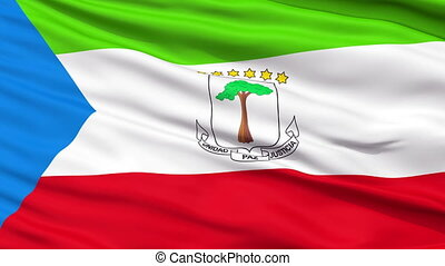 Close Up Waving National Flag of Equatorial Guinea -...