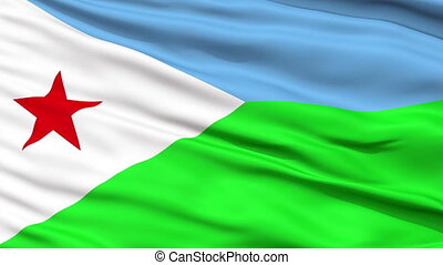 Close Up Waving National Flag of Djibouti