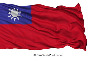 Isolated Waving National Flag Republic of China