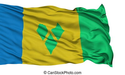 Isolated Waving National Flag of Saint Vincent and the...