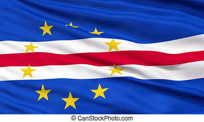Close Up Waving National Flag of Cape Verde - Cape Verde...