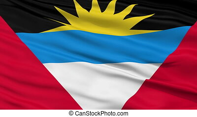 Close Up Waving National Flag of Antigua and Barbuda -...
