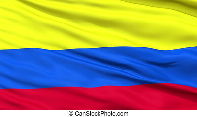 Close Up Waving National Flag of Colombia - Colombia Flag...