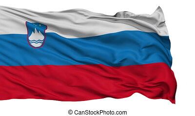 Isolated Waving National Flag of Slovenia - Slovenia Flag...