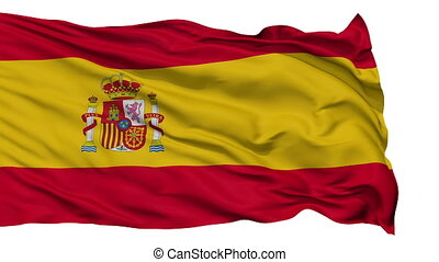 Isolated Waving National Flag of Spain - Spain Flag...
