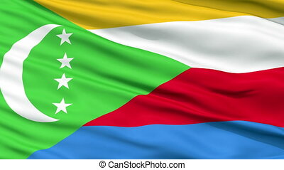 Close Up Waving National Flag of Comoros - Comoros Flag...