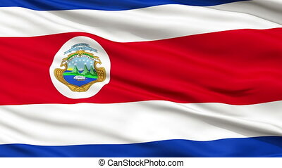 Close Up Waving National Flag of Costa Rica - Costa Rica...
