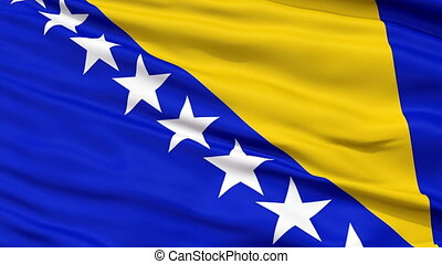 Close Up Waving National Flag of Bosnia and Herzegovina -...