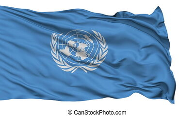 Isolated Waving Flag of United Nation - United Nation Flag...