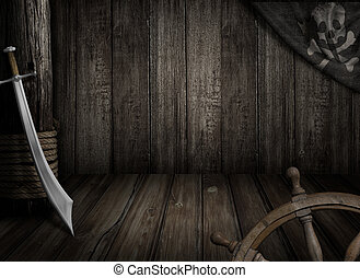 Pirates ship background with old jolly roger flag and saber...