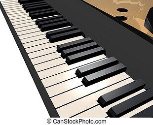 Close-up of grand piano keys