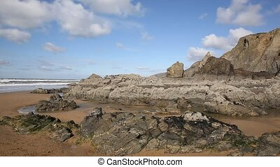 Sandymouth rock formations Cornwall - Sandymouth coast North...