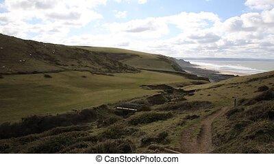 Sandymouth coast North Cornwall pan