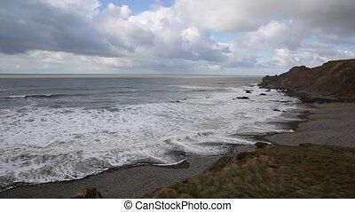 Northcott Mouth beach Cornwall pan - Northcott Mouth beach...