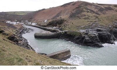 Boscastle North Cornwall England UK town and harbour pan...
