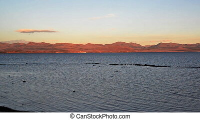 Yellowstone Lake Sunset - Yellowstone Lake at sunset in...