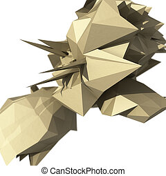 Raster abstract illustration with spiked chaotic object. 3d render.