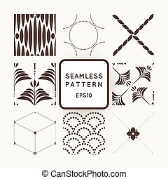 Set of nine abstract vector seamless patterns